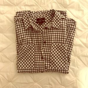 J Crew Grey and White Plaid Shirt, Size 6